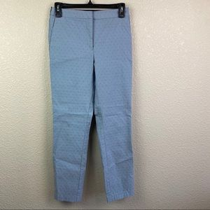 Zara Medium Blue Swiss Dot Straight Pants